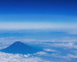 上空から雪解けの富士山